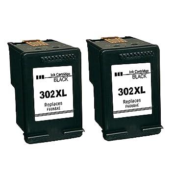 Kyansin 2XL 302XL Cartuchos de Tinta remanufacturados 302 XL Cartuchos de Alta Capacidad 302 tintas 2 (2 Negros) Compatible con HP DeskJet 1110 2130 ...