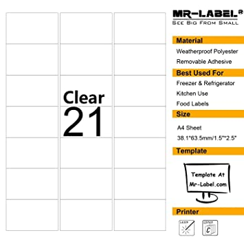 Mr label clear removable adhesive labels transparent tear resistant waterproof stickers for