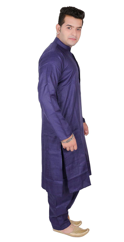 Hombre Indio Azul marino Algodón kurta Salwar kameez disfraces ...