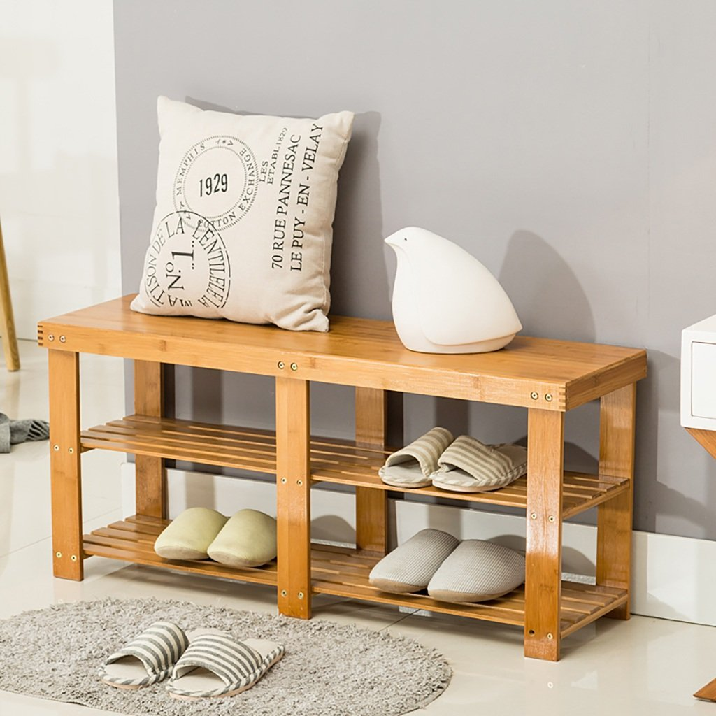 Support de chaussure bambou naturel pour le tabouret en bois étagère en bois massif armoire en fer ( Couleur : 1*  - taille