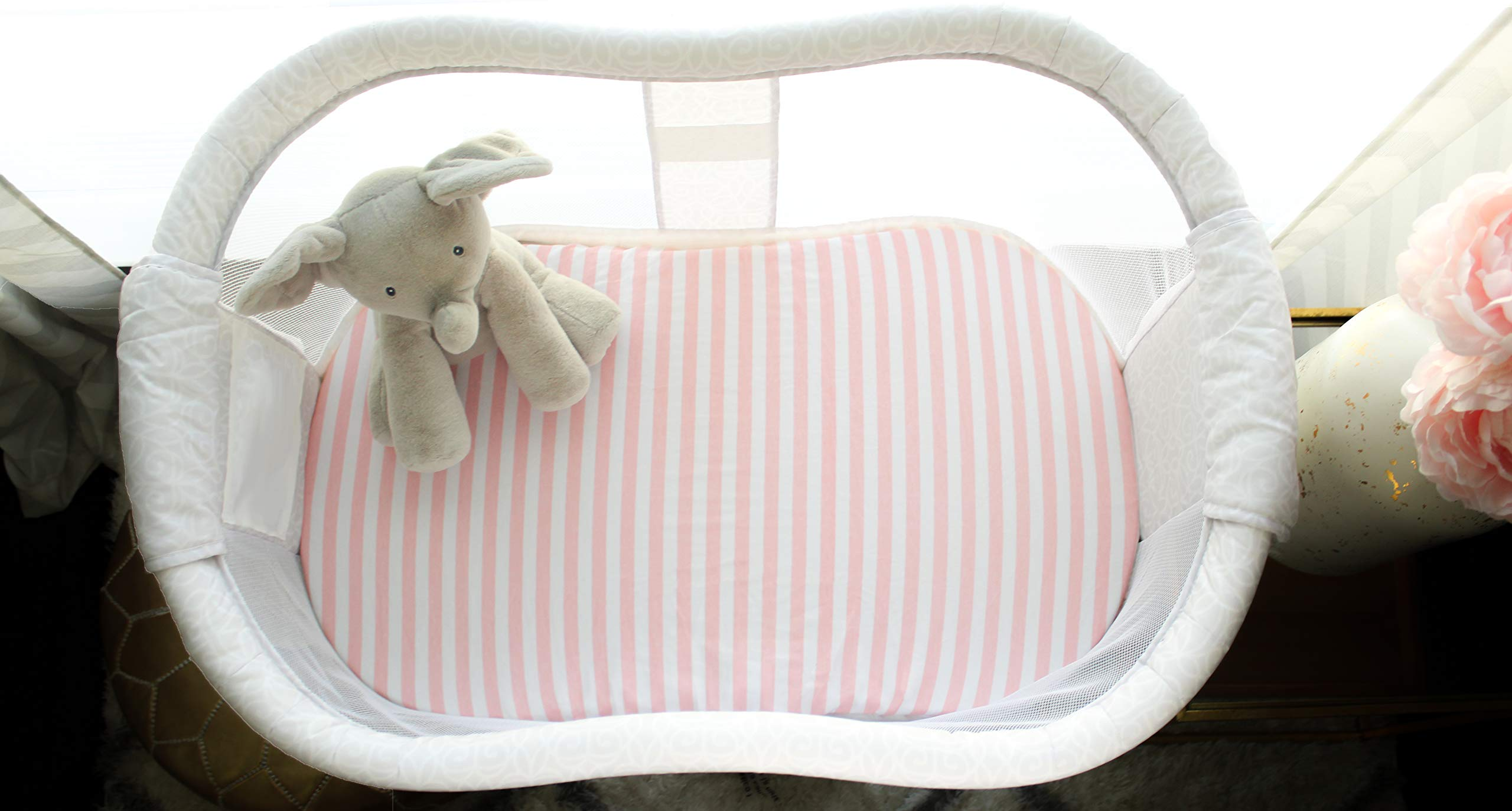 NODNAL CO. Pink Bassinet Fitted Sheet Set 3 Pack 100% Jersey Cotton for Baby Girl - Chevron, Polka Dot and Stripe 160 GSM Sheets by NODNAL CO. (Image #3)