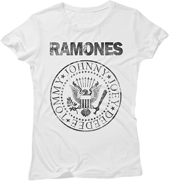 LaMAGLIERIA Camiseta Mujer Ramones Grunge Black Print - Camiseta 100% algodòn, S, Blanco: Amazon.es: Ropa y accesorios