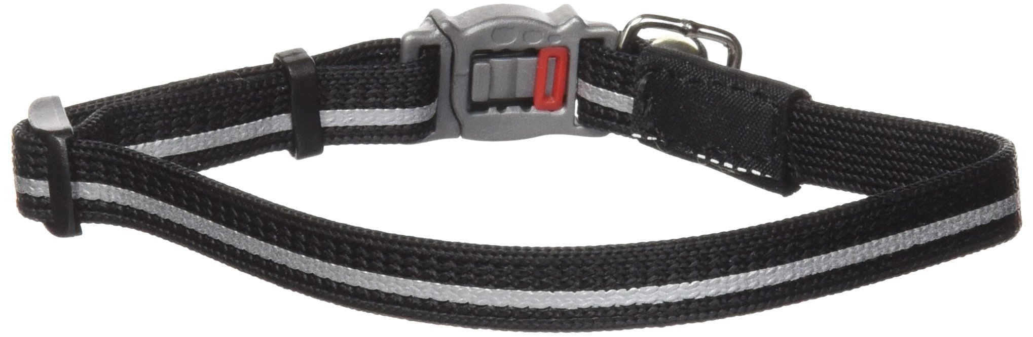 Rogz Reflective Nylon Cat Collar with Breakaway Clip and Removable Bell, fully adjustable to fit most breeds, Black
