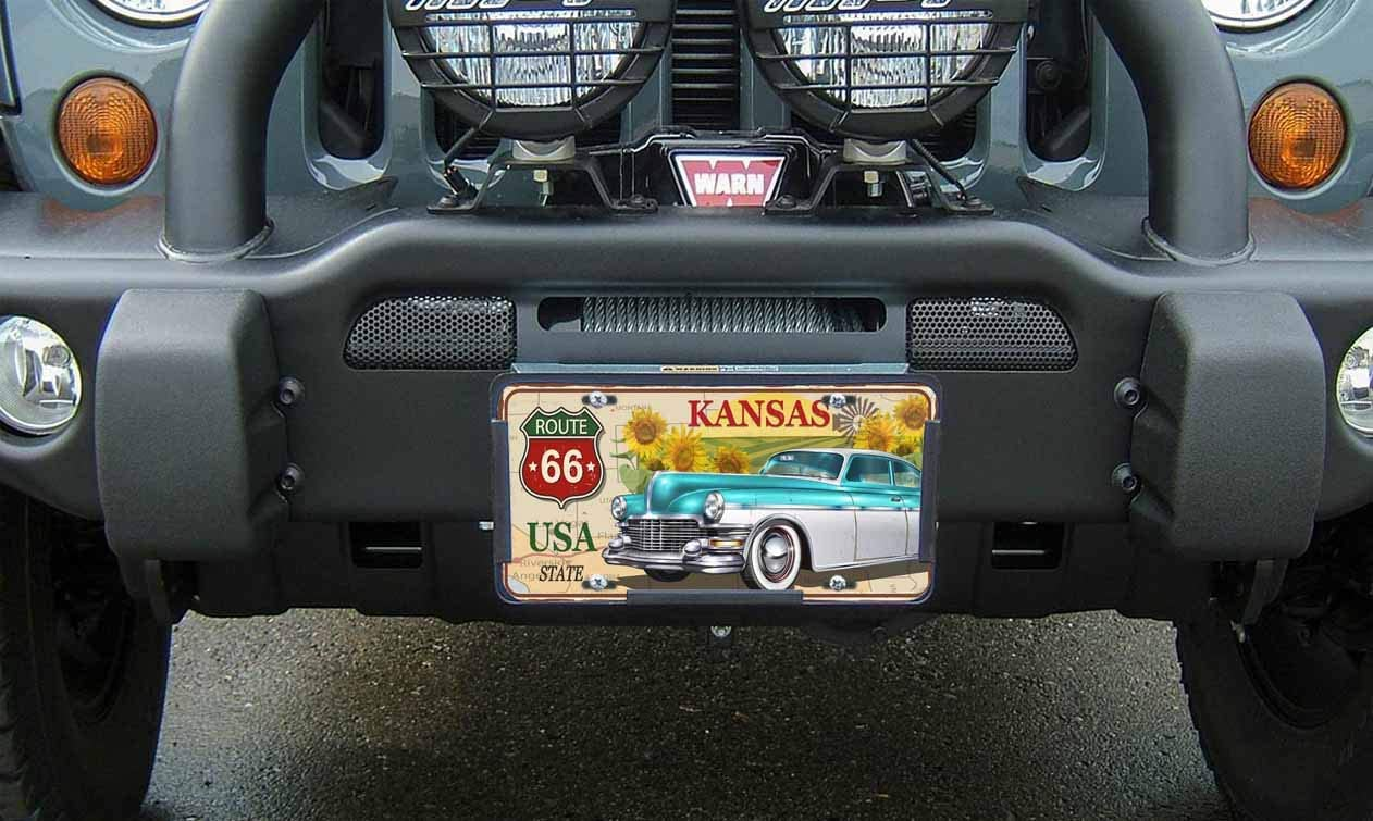 Beabes Kansas Route 66 USA State Front License Plate Cover,Blue and White Vintage Car Sunflowers Decorative License Plates for Car,Novelty Auto Car Tag Vanity Plates Gift for Men Women 6x12 Inch
