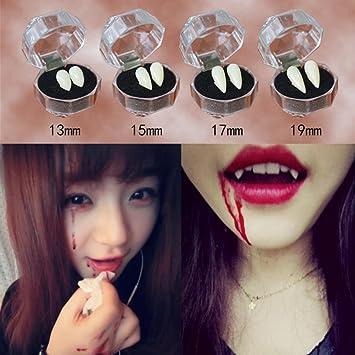 Colmillos Sansee de diablo, zombie o vampiro. Dentadura de accesorio para Halloween (13/15/17/19 mm), 13 mm: Amazon.es: Hogar