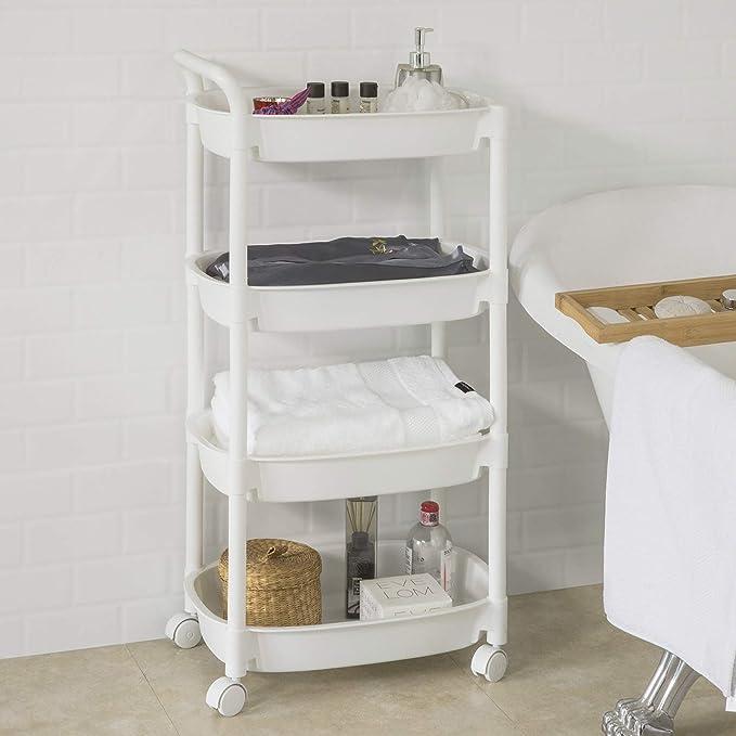 4 /étages Blanc SoBuy/® BZR15-W Chariot de Stockage Tour de Rangement /à roulettes Etag/ère de Cuisine Salle de Bains