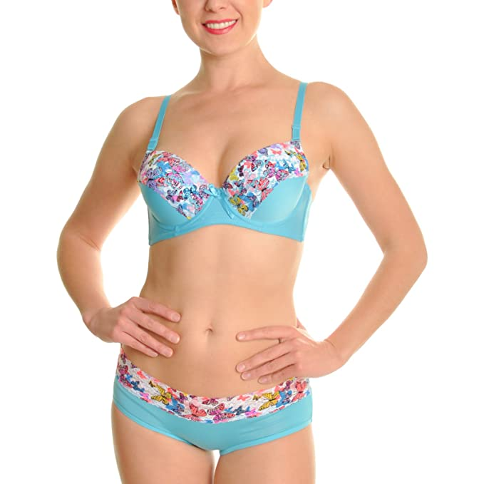 d8c025cf00582 Angelina Matching Bra and Bikini Panties with Butterfly Print Lace (6-Pack)  - Sold Separately at Amazon Women s Clothing store