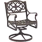 Home Style 5554-53 Biscayne Swivel Outdoor Arm Chair, Black Finish