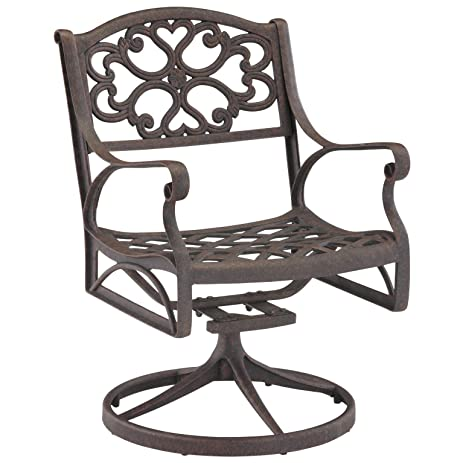 Home Style 5554 53 Biscayne Swivel Outdoor Arm Chair, Black Finish