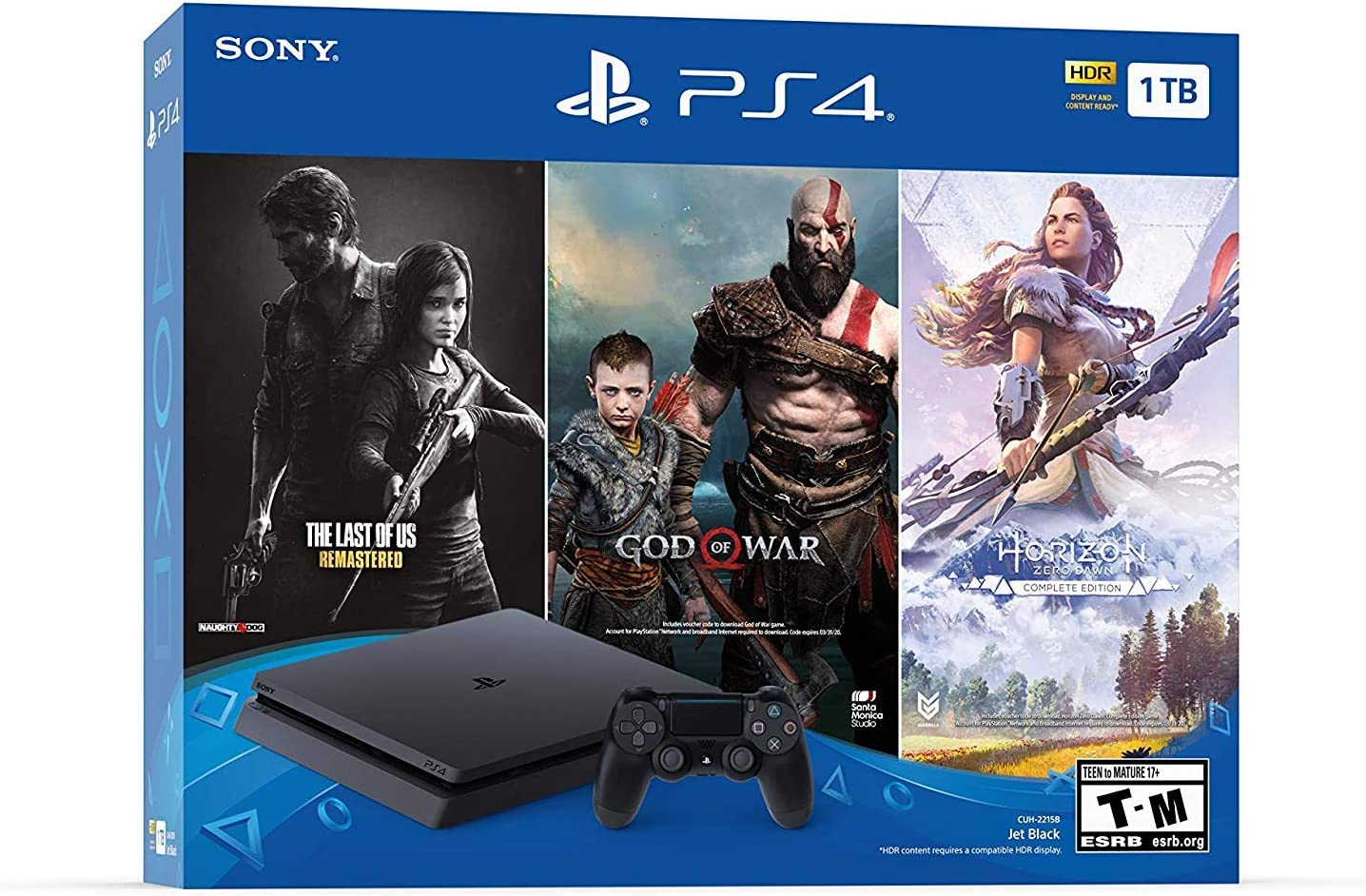 Amazon Com Newest Flagship Sony Play Station 4 1tb Hdd Only On Playstation Ps4 Console Slim Bundle Included 3x Games The Last Of Us God Of War Horizon Zero Dawn 1tb Hard