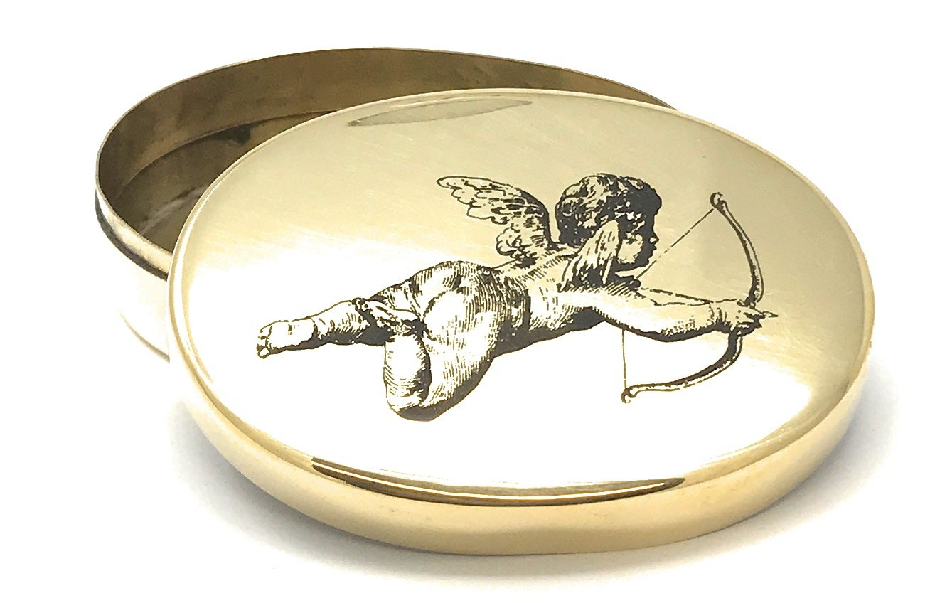 2.75 Inches Long Madison Bay Company Valentines Cupid Oval Brass Trinket Box