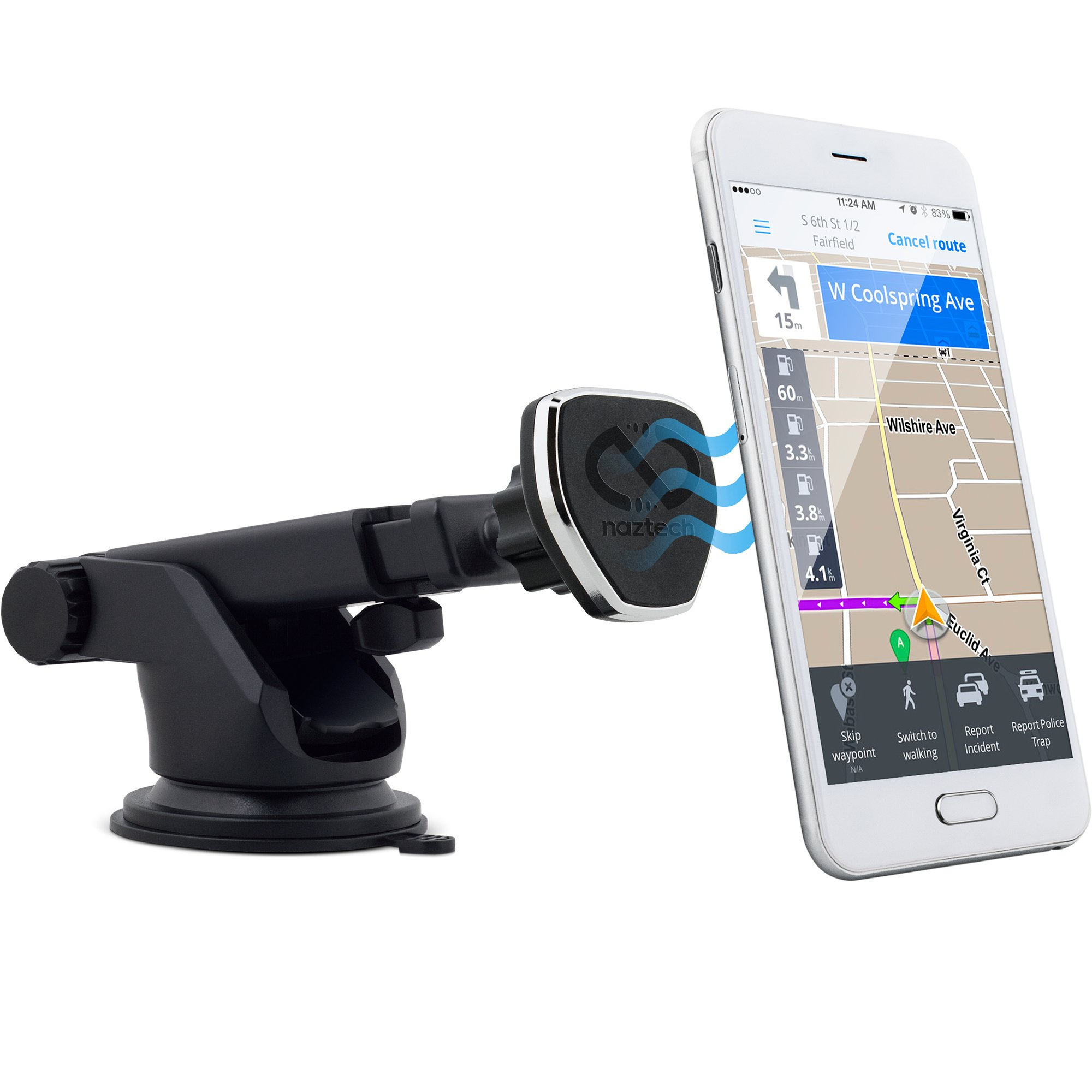 Naztech MagBuddy Dash Universal Magnetic Phone Car Mount, Fully Adjustable Telescopic Holder with Insta-Lock Technology for iPhone and Android Mobile Devices, Smartphones, Cell Phones, Tablets and GPS