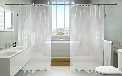 HelloAuto 1.7 TIMES THICK Shower Curtain Liner Clear Mildew Resistant Bath  Curtain Liner Set With 12
