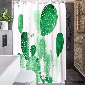 hysxm Cactus Long Rideau De Douche Blanc Vert Plantes ...
