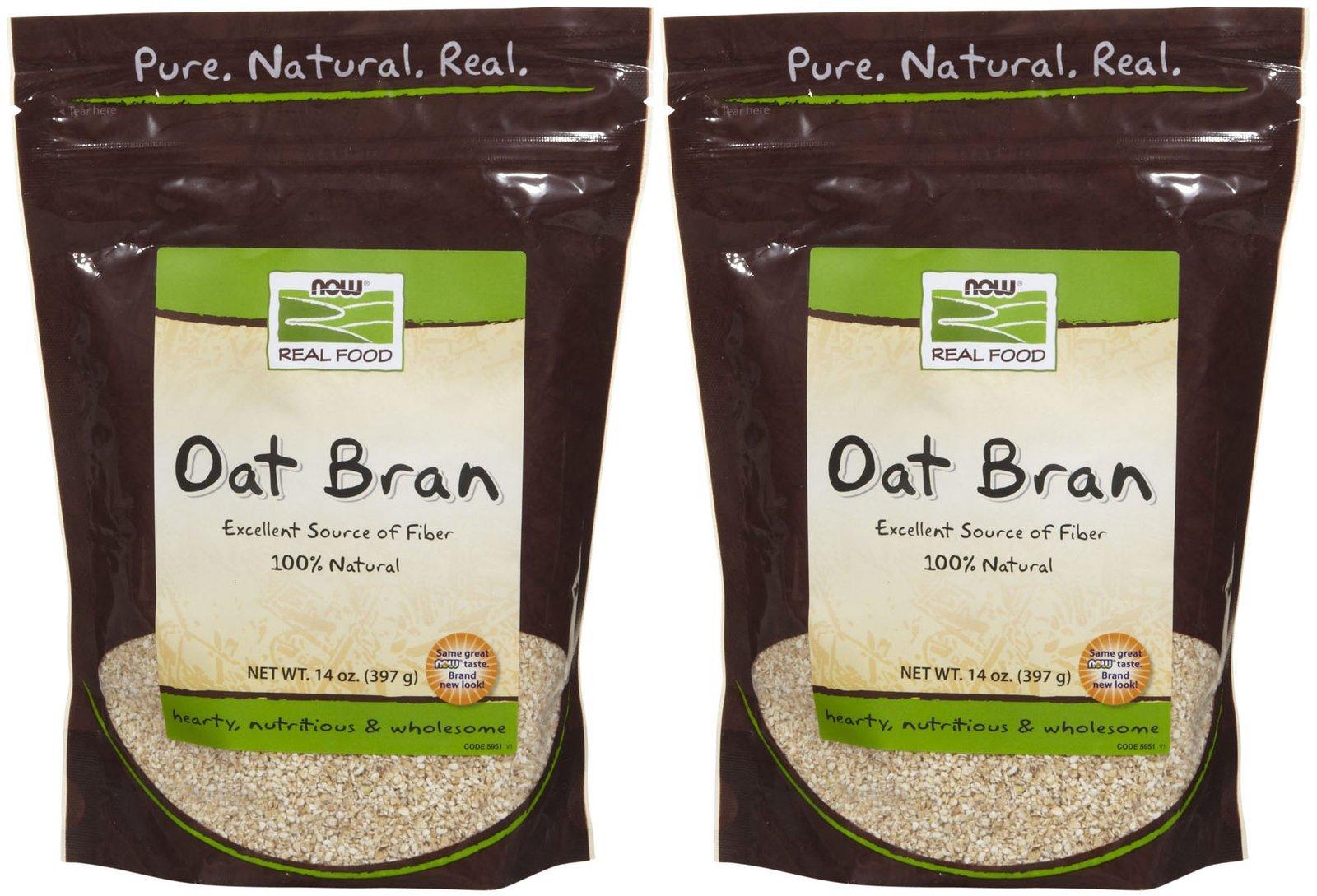 NOW Foods Natural Oat Bran - 14 oz - 2 pk