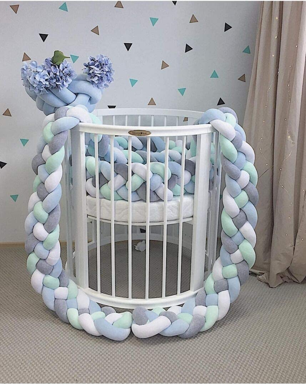 Zinsale Handmade Braided Cot Bumper Baby Crib Bumper Head Guard Long Knot Cushion Plush Pillow Nursery Bed Rails Blue, 220cm//86.7