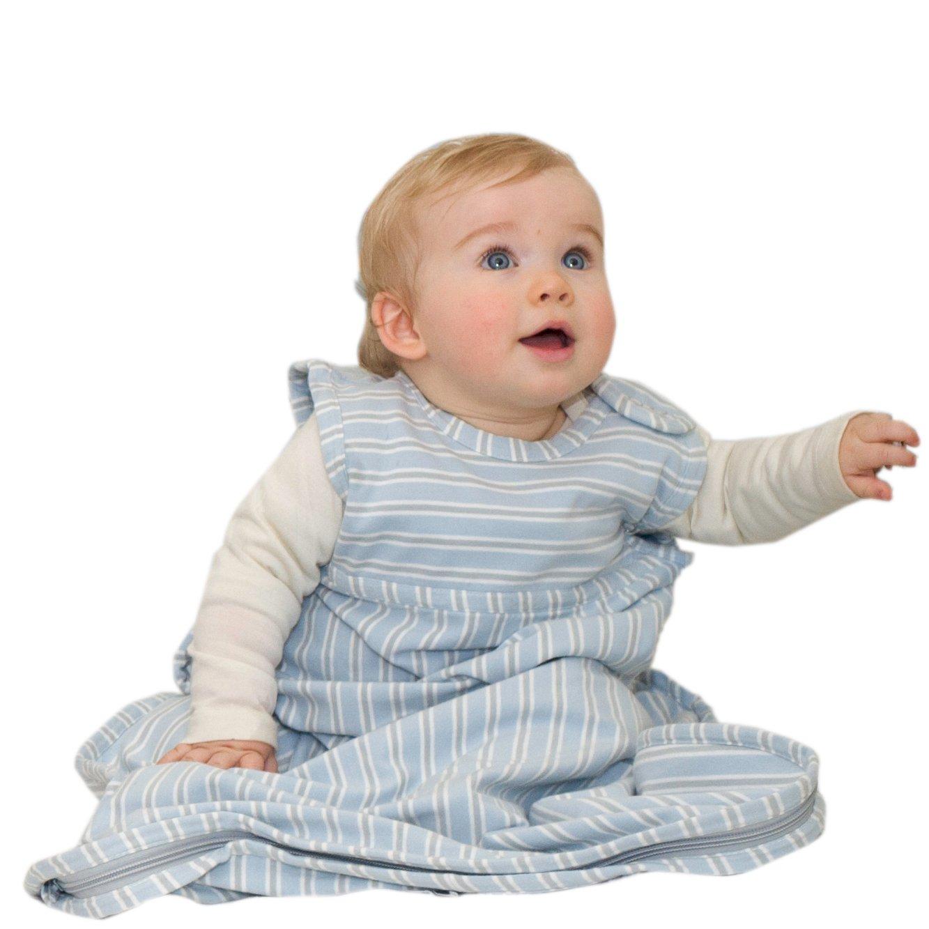 Merino Kids Baby Sleep Bag for Toddlers 2-4 Years, Sky/Light Grey Stripe