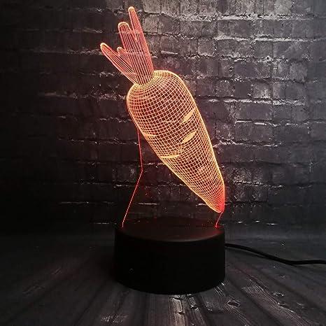 De La Conejo Dormitorio Led Zanahoria Base Flash 3d Luz Noche Usb HIeD2E9WY