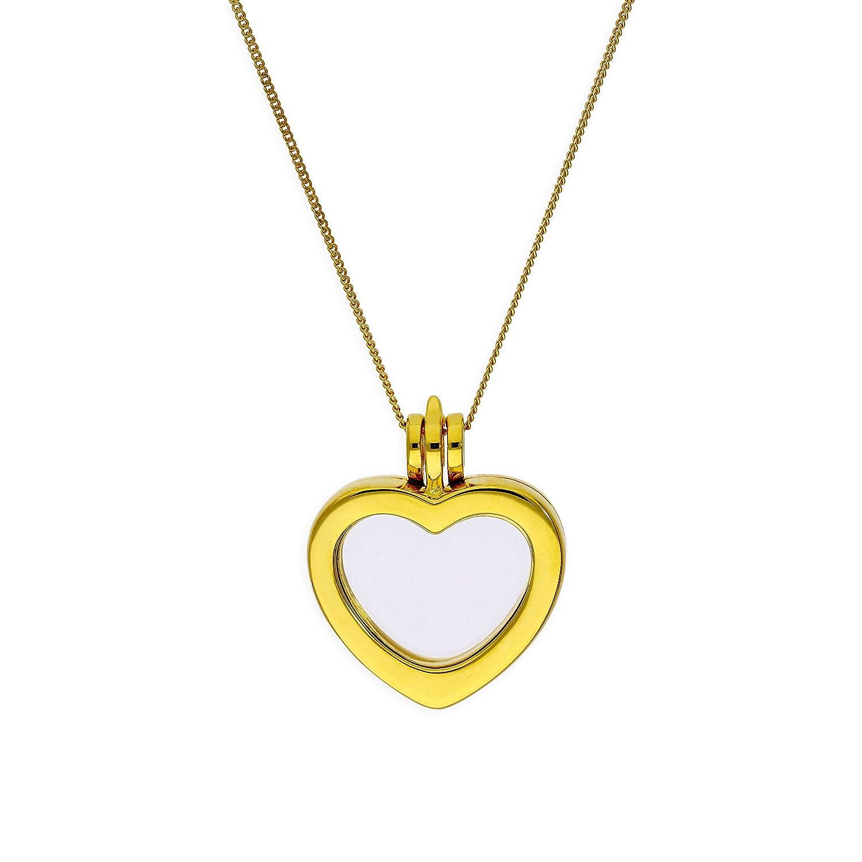 Collier et Pendentif Médaillon Cœur en Argent Plaqué Or Jaune - 41 à 81cm jewellerybox CHZ-1406-16