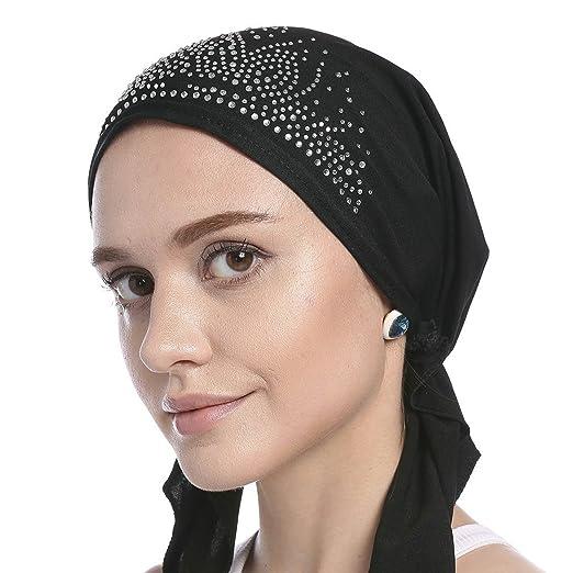 Women Fashion Muslim Turban Caps Hijabs Head Wrap Snood Beanie Cap ... fc62d13da3c