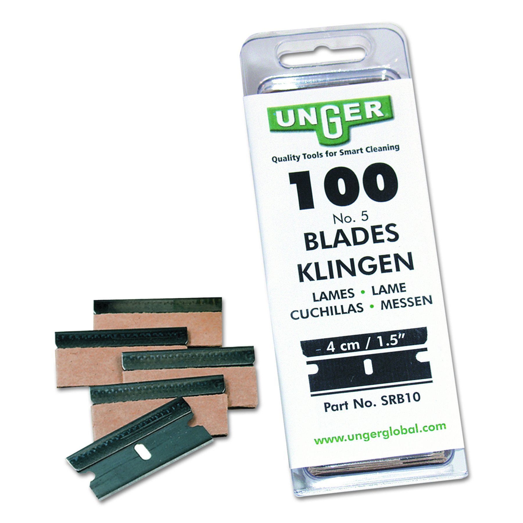 Unger SRB10 Safety Scraper Replacement Blades, #9, Stainless Steel (Box of 100)