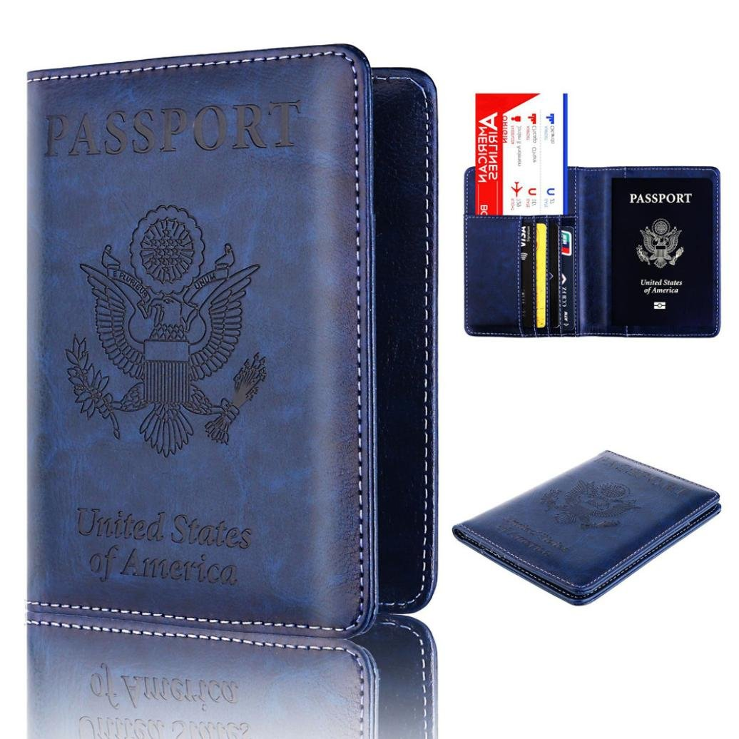 Storage Package, Yezijin Leather Passport Holder Wallet Cover Case RFID Blocking Travel Wallet (Blue)