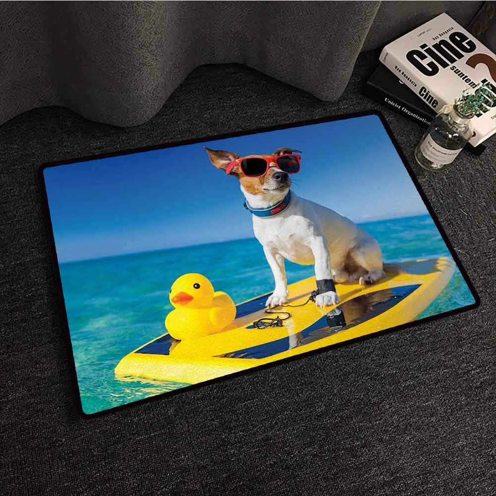 Pet Door mat Rubber Duck Dog with Sunglasses and Rubber Duck on Surfboard at Ocean Shore Fun Summer Quick and Easy to Clean W35 xL59 by DuckBaby