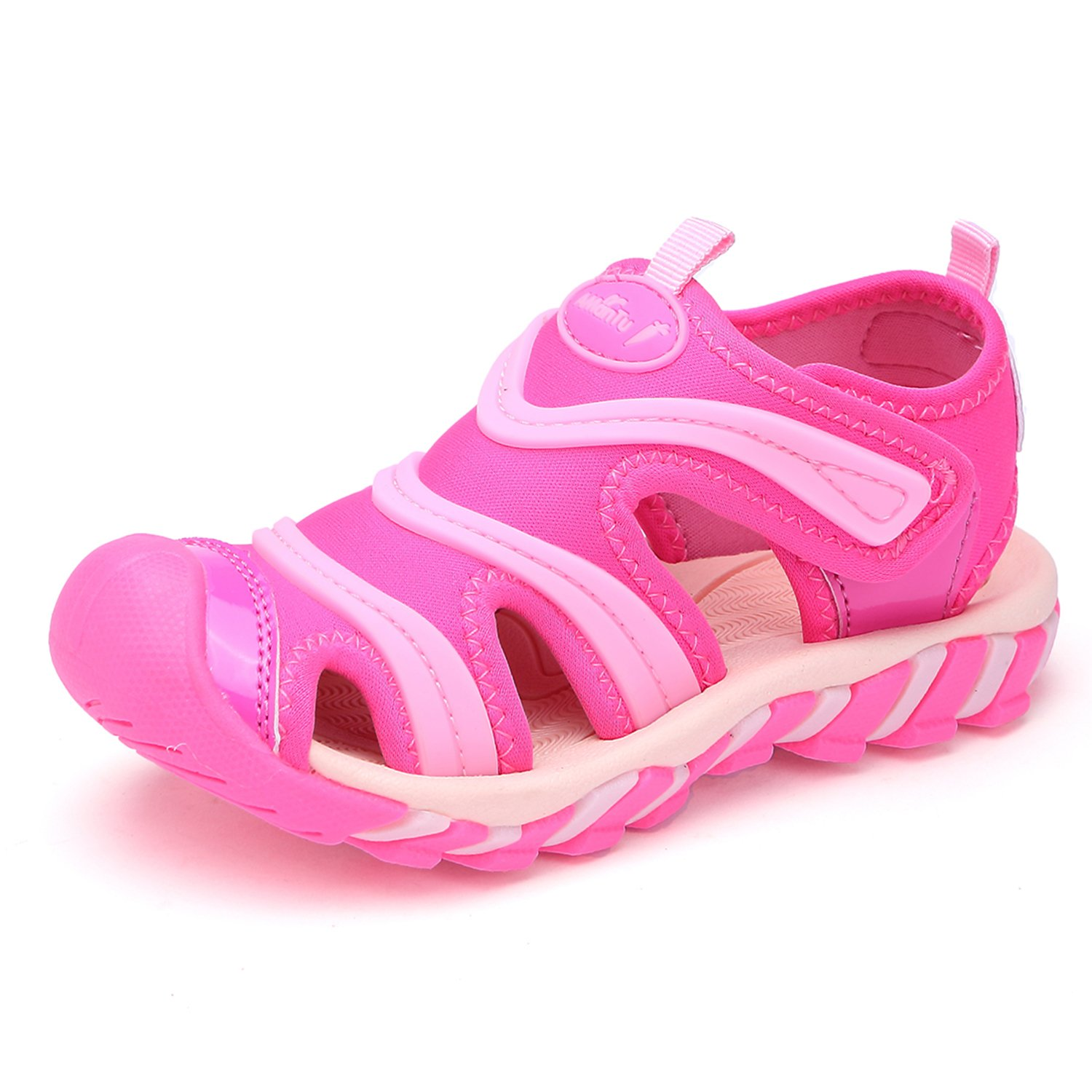 BTDREAM Boy's and Girl's Sports Sandals Breathable Closed-Toe Summer Outdoor Velcro Athletic Beach Shoes Pink Size 31