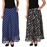 2DAY's Women Stylish Georgette Plazzo Butterfly Print and Blue Polka (Pack of 2)