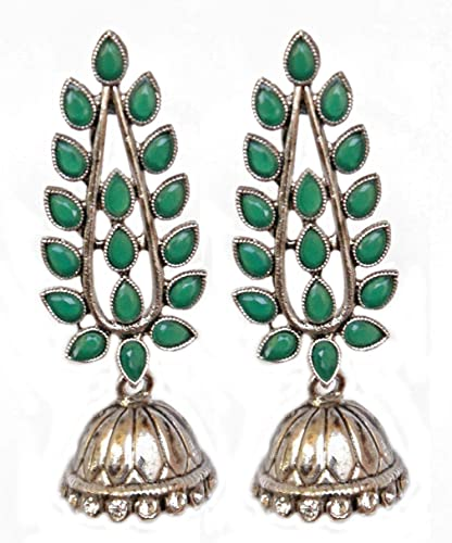 b597d3609 Pahal Ethnic Designer Kundan Big Silver Jhumka Earrings South Indian  Wedding Jewelry Set (Green)