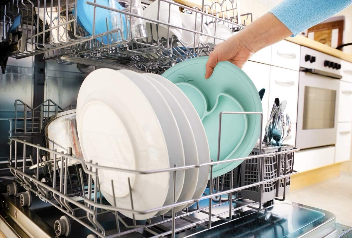 una pieza fuertes placas de succi/ón para ni/ños peque/ños sin BPA aptos para lavavajillas y microondas aprobado por la FDA Platos de silicona para beb/é para beb/és y ni/ños Qshare port/átil
