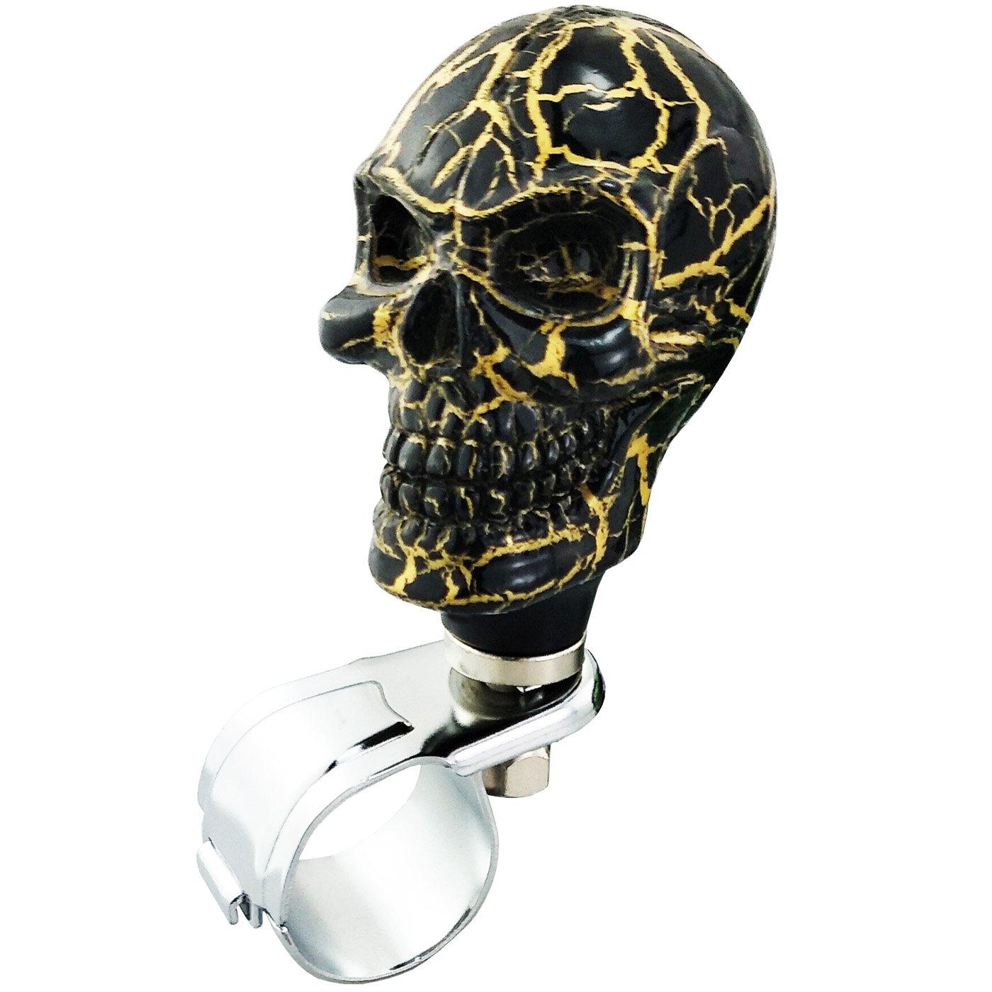 LUNSOM Car Wheel Handle Driving Power Universal Skull Spinner Knob Red Steering Wheel Suicide Spinner Red