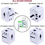 Travel Adapter,Rdxone International Power Plug Converter for Europe, Italy, Ireland, UK, AU, Asia, Over 150 Countries,with 2 USB for iPhone, Android-1500 Watts Worldwide Plug Adapter Power Adapter