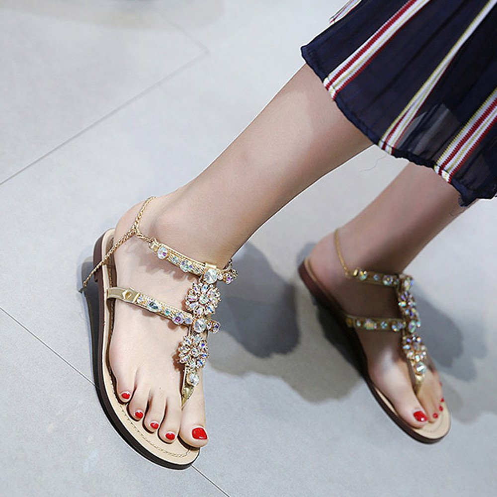 8dfe2ef789f1 ... Summer Sandals,Womens Flat Shining Rhinestones Chain Sandals T-Strap  Comfortable Shoes Gold Bohemia Beaded Rhinestone Shoes  Amazon.co.uk  Shoes    Bags