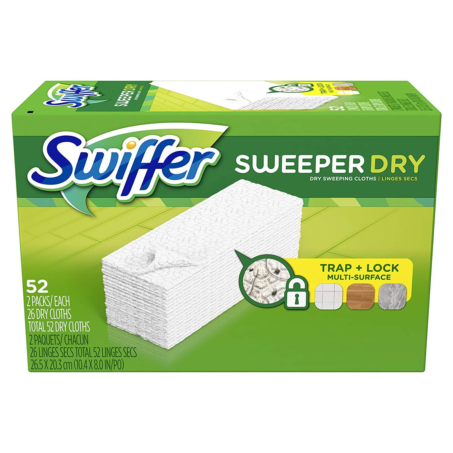 Swiffer Sweeper Dry Sweeping Pad, Multi Surface Refills for Dusters Floor Mop, Unscented