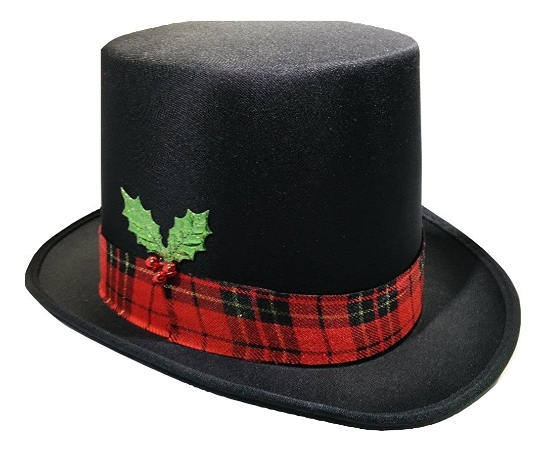 c1e0dcf827c Amazon.com  Christmas Caroler Snowman Top Hat Costume Red Plaid Band  Mistletoe Holly Berries  Clothing