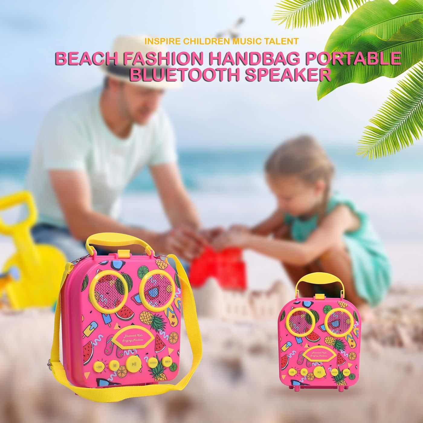 Bluetooth Speaker Children's Karaoke Speaker Portable Microphone Beach Handbag Karaoke Bluetooth Speaker Wireless Cartoon Speaker for Kids for Indoor Outdoor Travel Activities with Microphone (Pink) by HowQ (Image #7)
