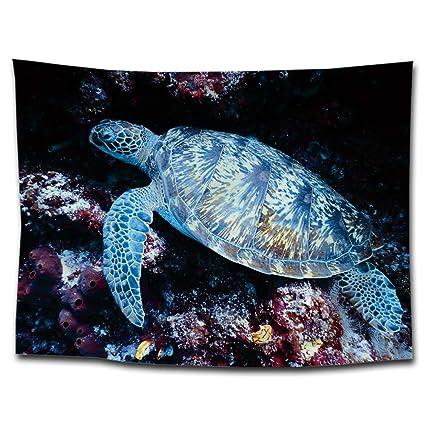 MARCU Home Medusas Tortuga Cangrejo Estampado Tapicería Colgando Fondo Manta de Tela Toalla de Playa Pintura