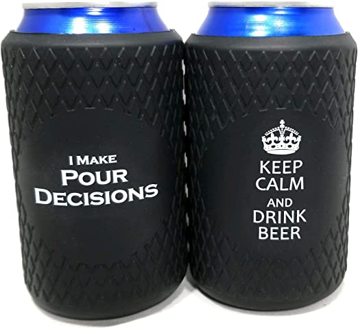 Great Gift Keep Calm /& Drink Beer  x1   Perfect for Party Collapsible Beer Can Coolers BBQ Silicone Funny Coolies for Cans Black Events