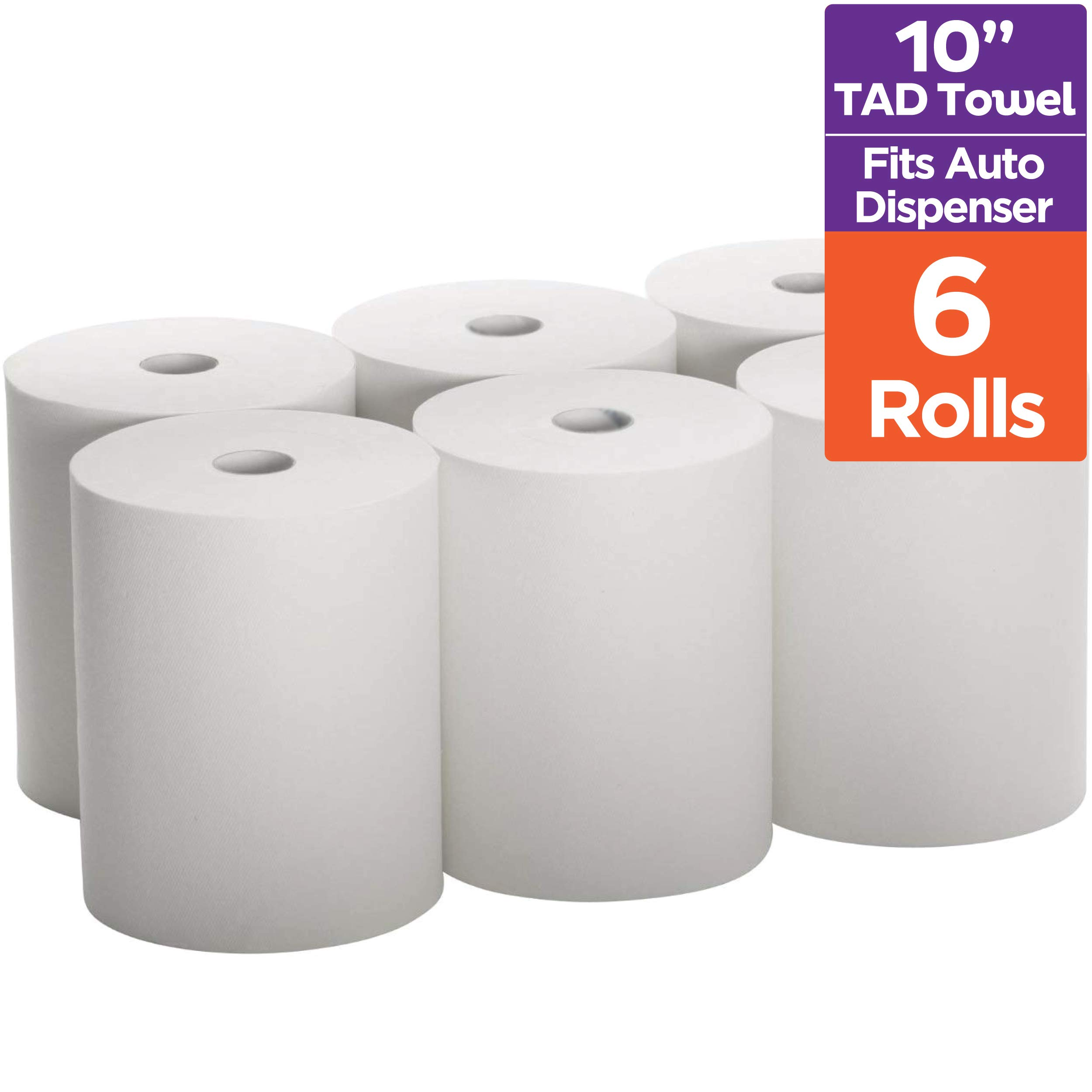Industrial Paper Towels 10 x 800 White Roll Towels High Capacity Premium Quality (TAD Fabric Cloth Like Texture) Fits Touchless EnMotion Automatic Commercial Towel Dispenser (Packed 6 Rolls) by Stack Man