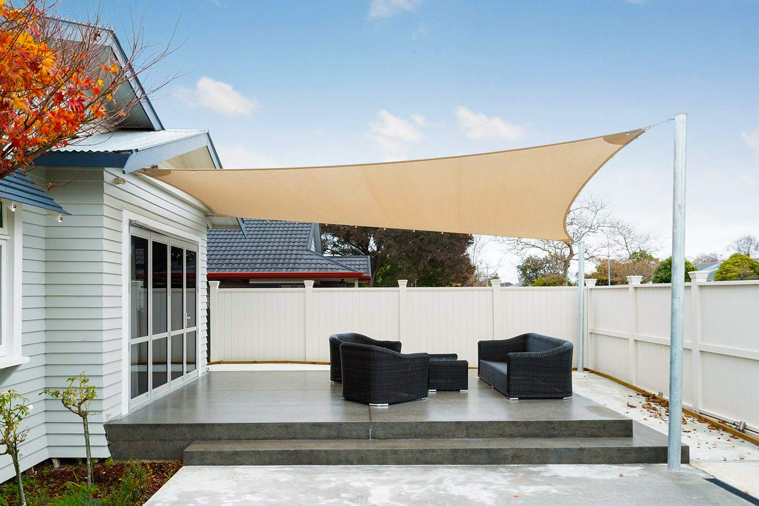 SUNNY GUARD 13' x 19.5' Sand Rectangle Sun Shade Sail UV Block for Outdoor Patio Garden by SUNNY GUARD (Image #3)