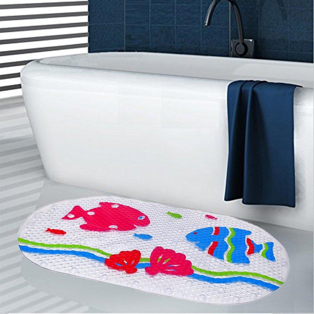 SZBOYU Baby Bathtub Bath Mat Non Slip for Tub Kids Anti Bacterial Phthalate Free Latex and Machine Washable Cartoon Pattern Mats Materials Baby 27x15 Inch Fish