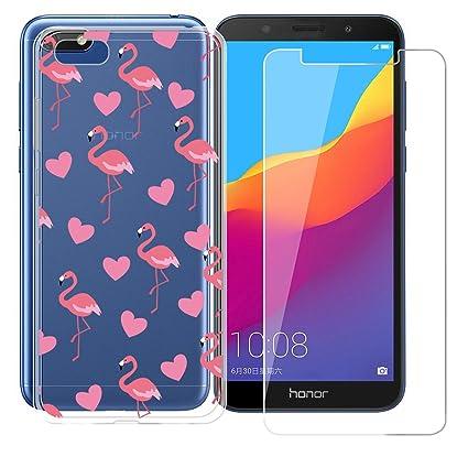 Funda para Huawei Honor 7S/Huawei Y5 2018/Huawei Y5 Prime (2018) Cover , ZXLZKQ flamencos Parachoques Case Transparente Funda TPU + Película de vidrio ...