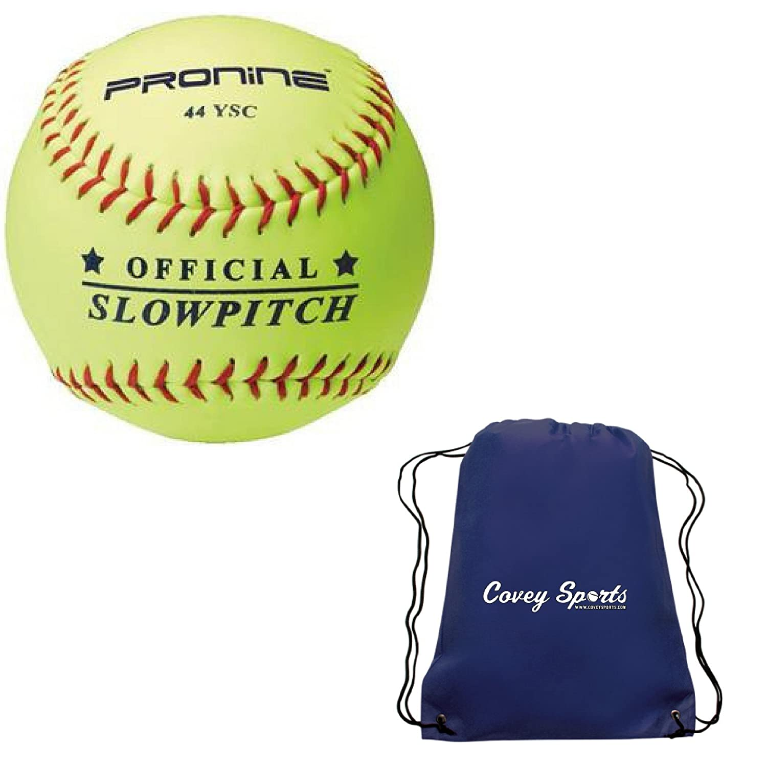 Multi-Packs ProNine Slowpitch Softballs 12 Inch .44 COR 375 LB Yellow Compression Balls Bundled with Covey Sports Bag