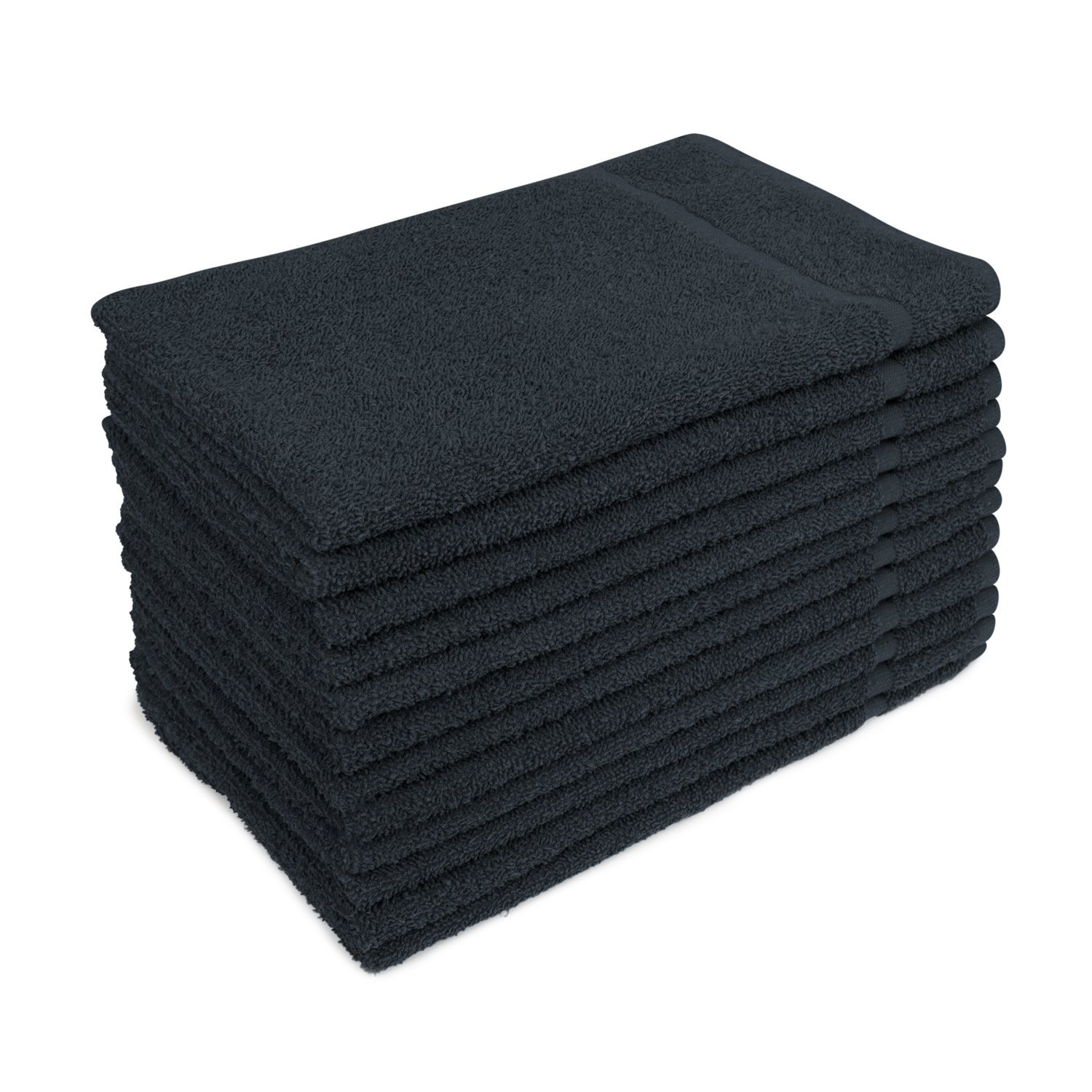 Altima 16'' x 27'' Black Bleach Safe Salon Hair Towels - 12 Pack