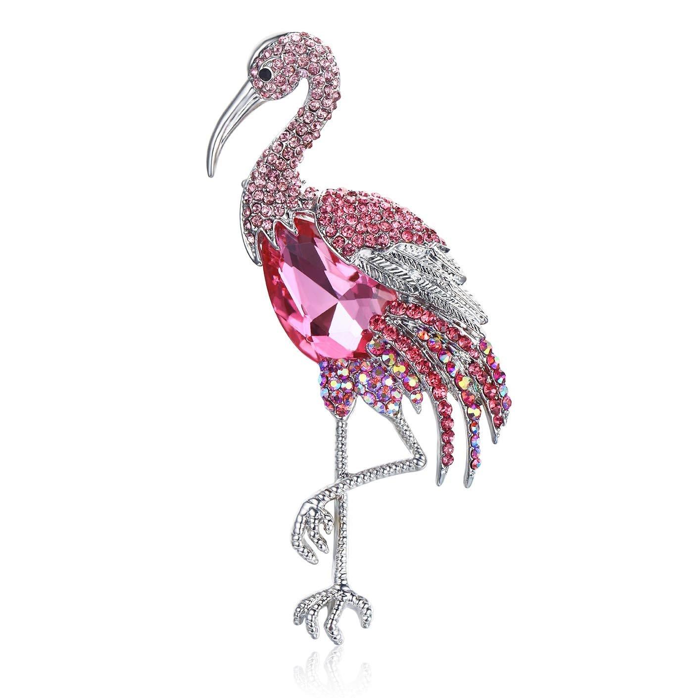 Janefashions 4-INCH FLAMINGO HOT PINK AUSTRIAN RHINESTONE CRYSTAL BROOCH PIN ANIMALS B1615HP (Pink)
