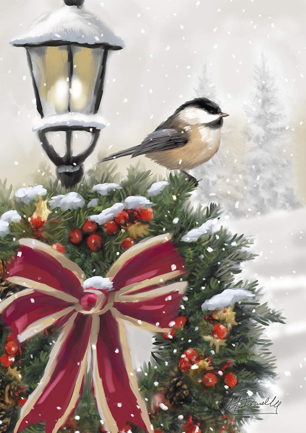 Toland Home Garden 1012270 Snowy Wreath House Flag (28 x 40-Inch), Winter Christmas Chickadee, Multi