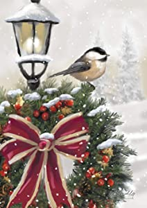 Toland Home Garden 1012270 Snowy Wreath House Flag (28 x 40-Inch), Winter Christmas Chickadee, Multi