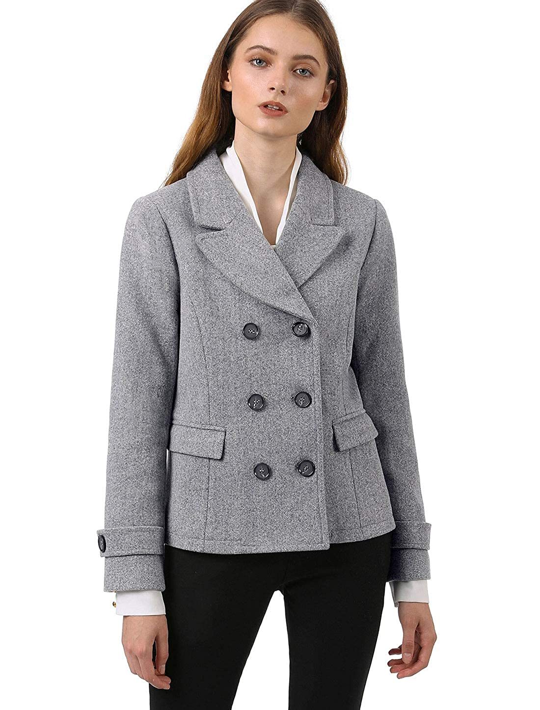 885c352fb2f Allegra K Women s Notched Lapel Double Breasted Pea Coat  Amazon.co.uk   Clothing