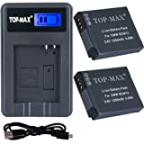 TOP-MAX® DMW-BCM13 Battery (2-Pack) and Portable Micro USB Charger kit for Panasonic DMW-BCM13, DMW-BCM13E, DMW-BCM13PP and Panasonic Lumix DMC-FT5 DMC-LZ40 DMC-TS5 DMC-TZ37 DMC-TZ40 DMC-TZ41